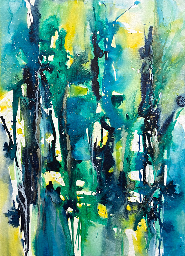 Abstract Watercolor - Blue & Green